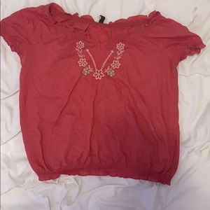 Off the shoulder rusty pink shirt